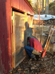 Installing coop door