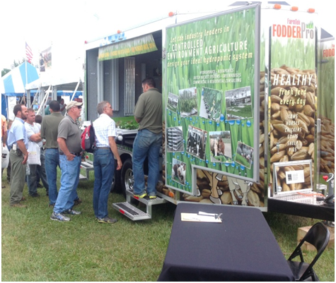 Fodder trailer at trade show