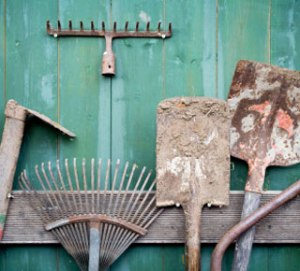 Dirty garden tools