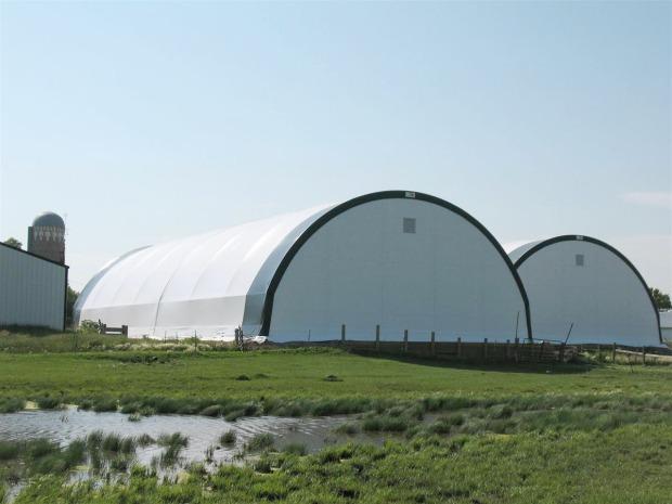 Backside of Gary Knutson Farm Hay Storage buildings