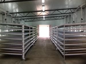 Inside the fodder building