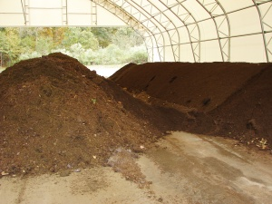 Manure stored in a solid state